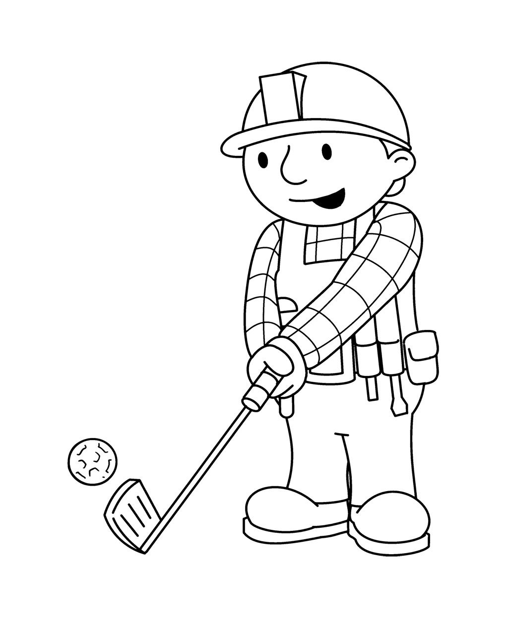 bob the builder palying golf coloring page for kids kids