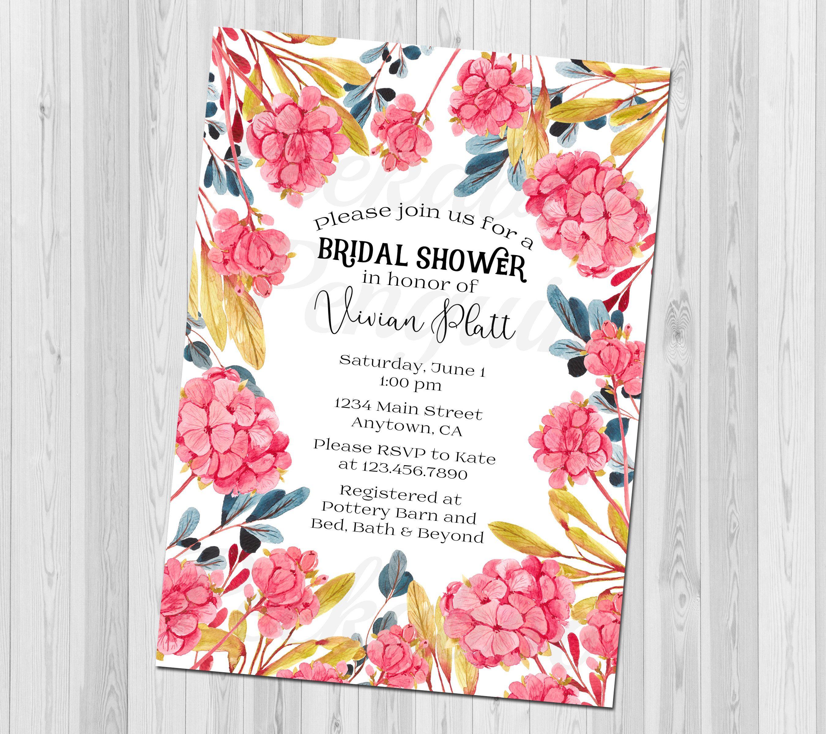 hydrangea bridal shower invitation coral bridal shower invites floral wedding shower invitation watercolor