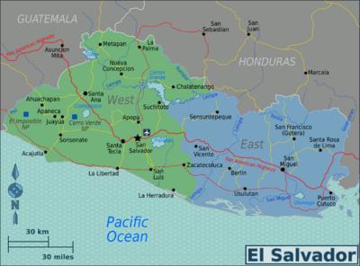 This Map Shows El Salvador And Its Major Cities Including San Salvador The Capital San Salvador San Sebastian El Salvador