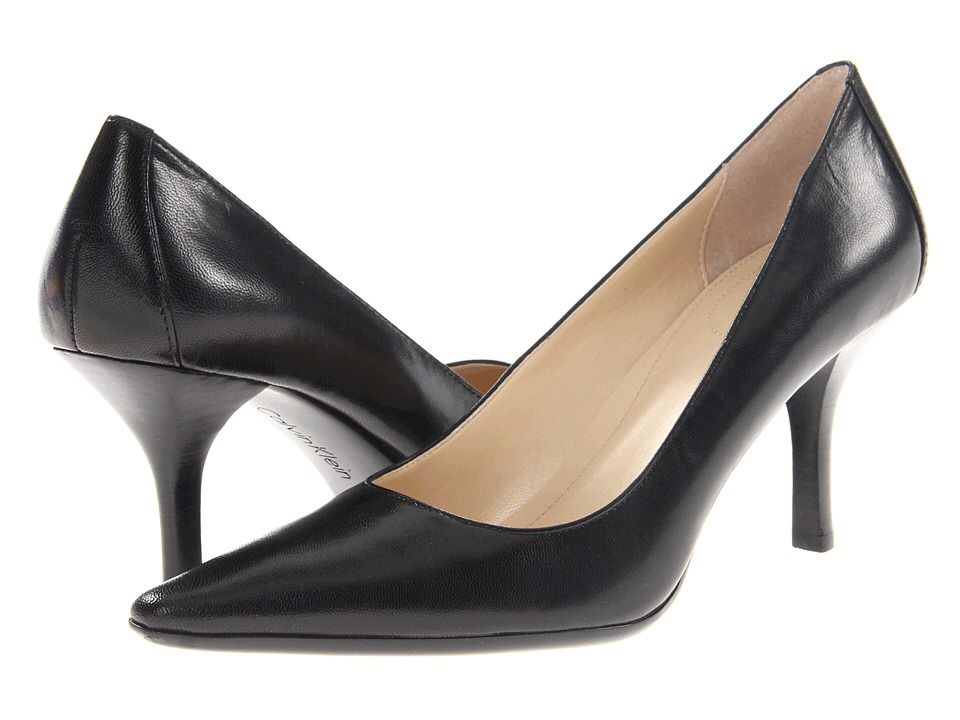 Womens Shoes Calvin Klein Dolly White/Black Stripe Haircalf