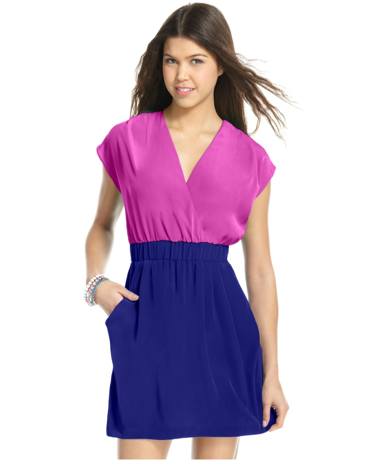 Ali & Kris Dress, Short Sleeve Colorblocked - Juniors Dresses ...