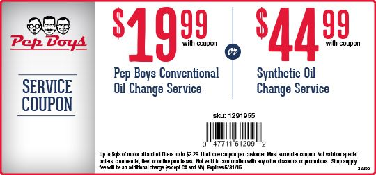Synthetic Oil Change Coupons >> 19 99 Pep Boys Conventional Oil Change Or 44 99 Synthetic