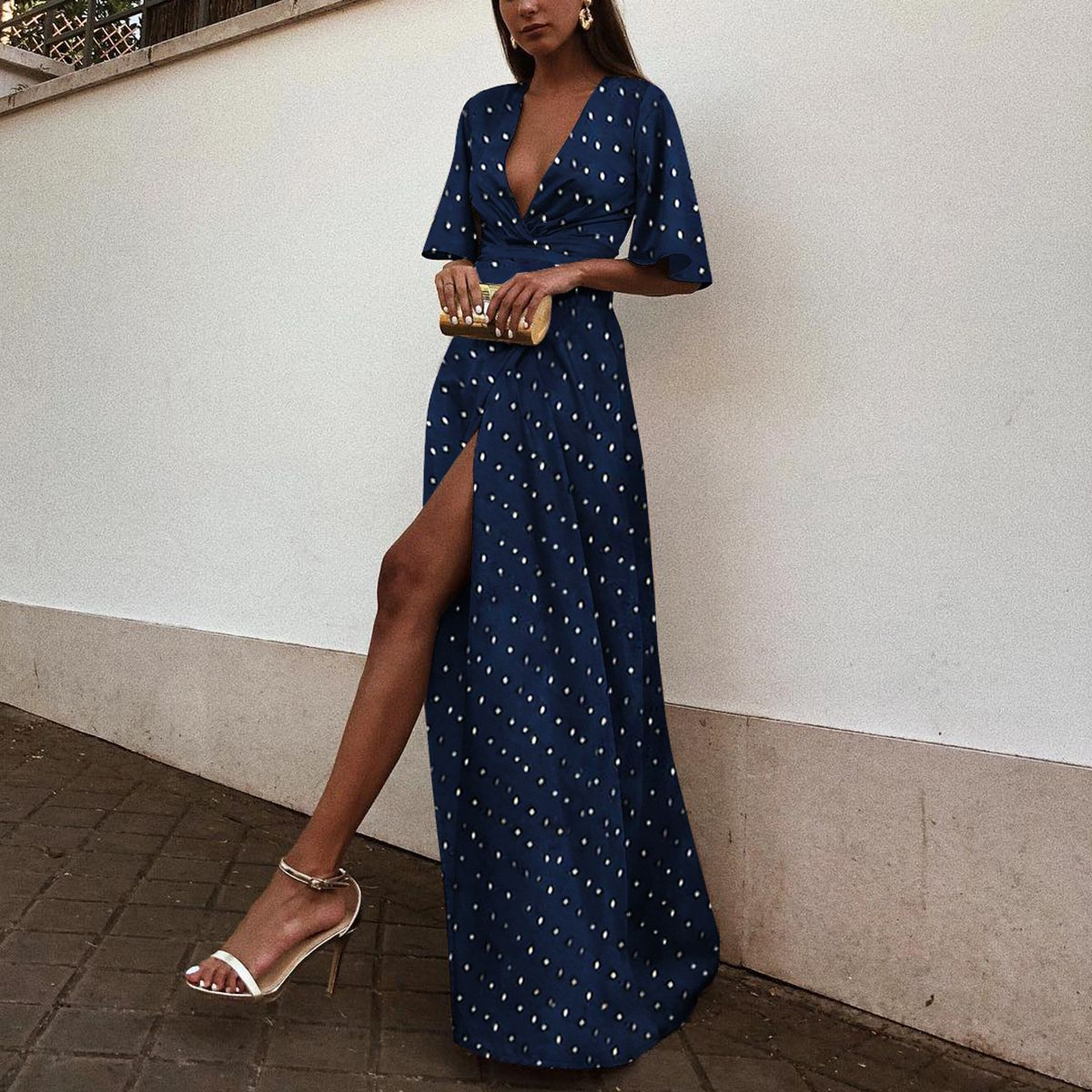 Sexy V Neck Wave Point Short Sleeves Maxi Dress – Bellalike ... cec02dc535eb9