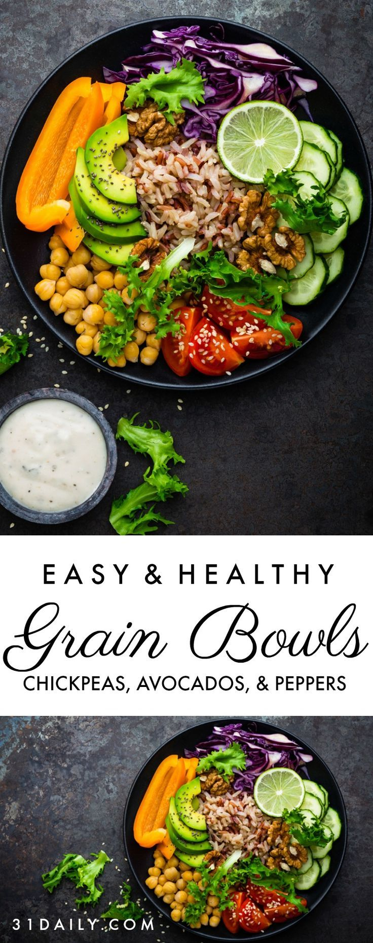 Chickpea Grain Bowls With Avocado Peppers And Red Cabbage