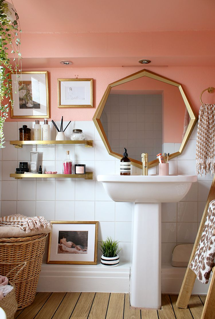 The Reveal Of Our Peach And Gold Bathroom Refresh Phase 2 In