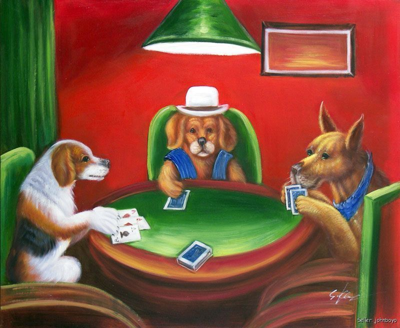 Dogs Playing Poker Cards Classic American Art Repro 20x24 Oil On