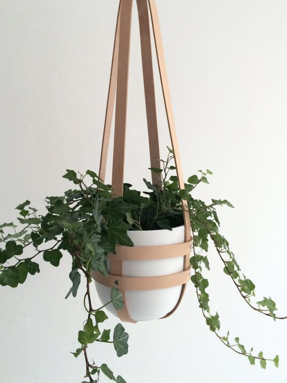 Hanging planter nude leather, ceiling planter, plant hanger, vegetable tanned leather including white ceramic pot (without plant)