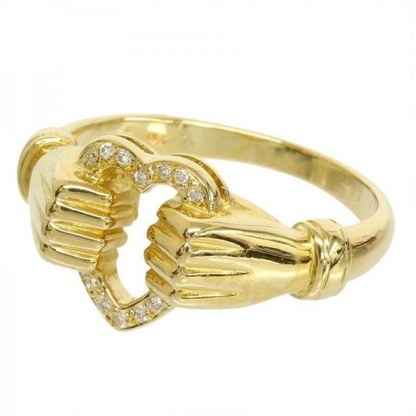 Pre owned Carrera y Carrera 18K Yellow Gold Hand Heart Motif