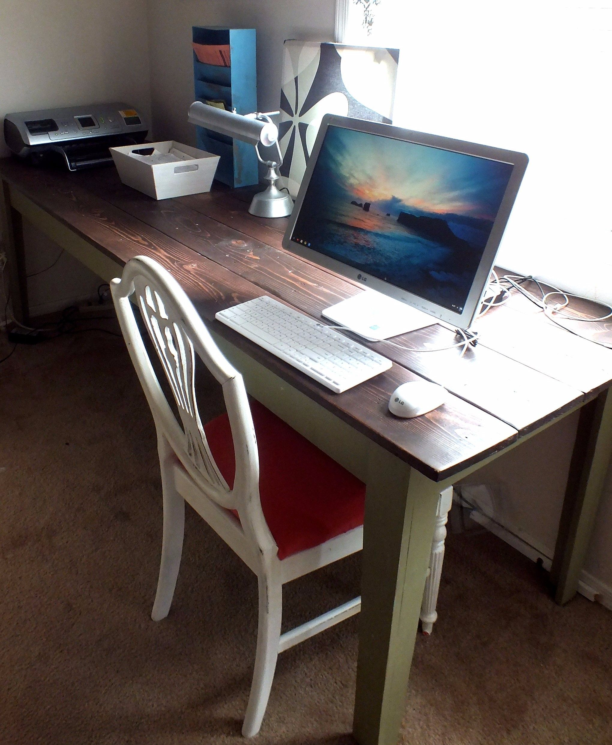 Do It Yourself Home Design: Narrow Farmhouse Table For Home Office