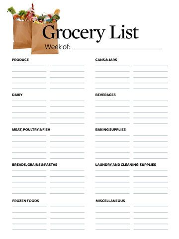 Printable Grocery List Store, Organizations and Organizing - free printable grocery shopping list template