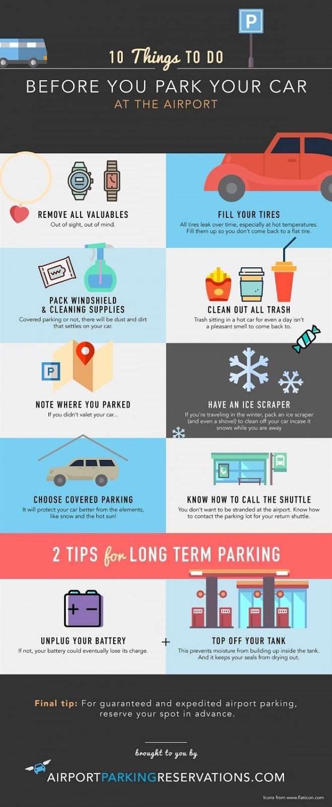 10 Things To Do Before You #Park At The #Airport - Do you fancy an infographic? There are a lot of them online, but if you want your own please visit http://www.linfografico.com/prezzi/ Online girano molte infografiche, se ne vuoi realizzare una tutta tua visita http://www.linfografico.com/prezzi/