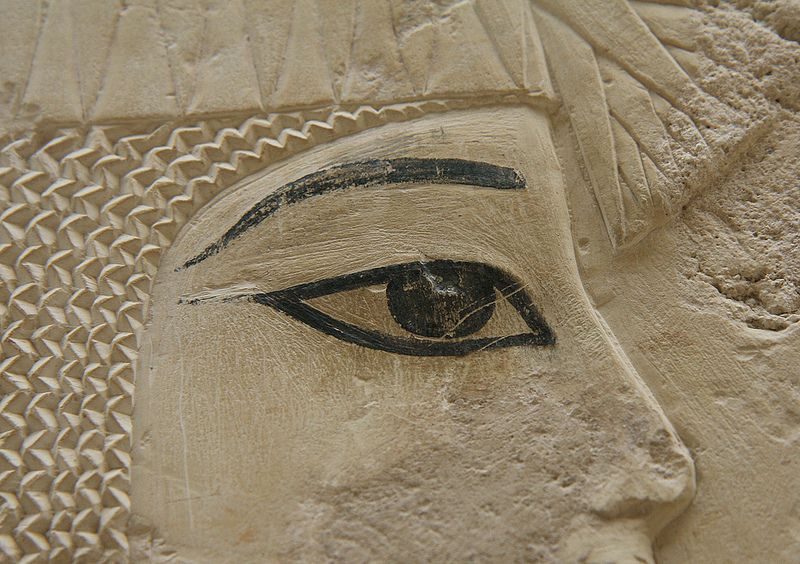 Tumba de Ramose, TT55, Egipto, Luxor. Bas-reliefs are unpainted with the exception of the eyes.