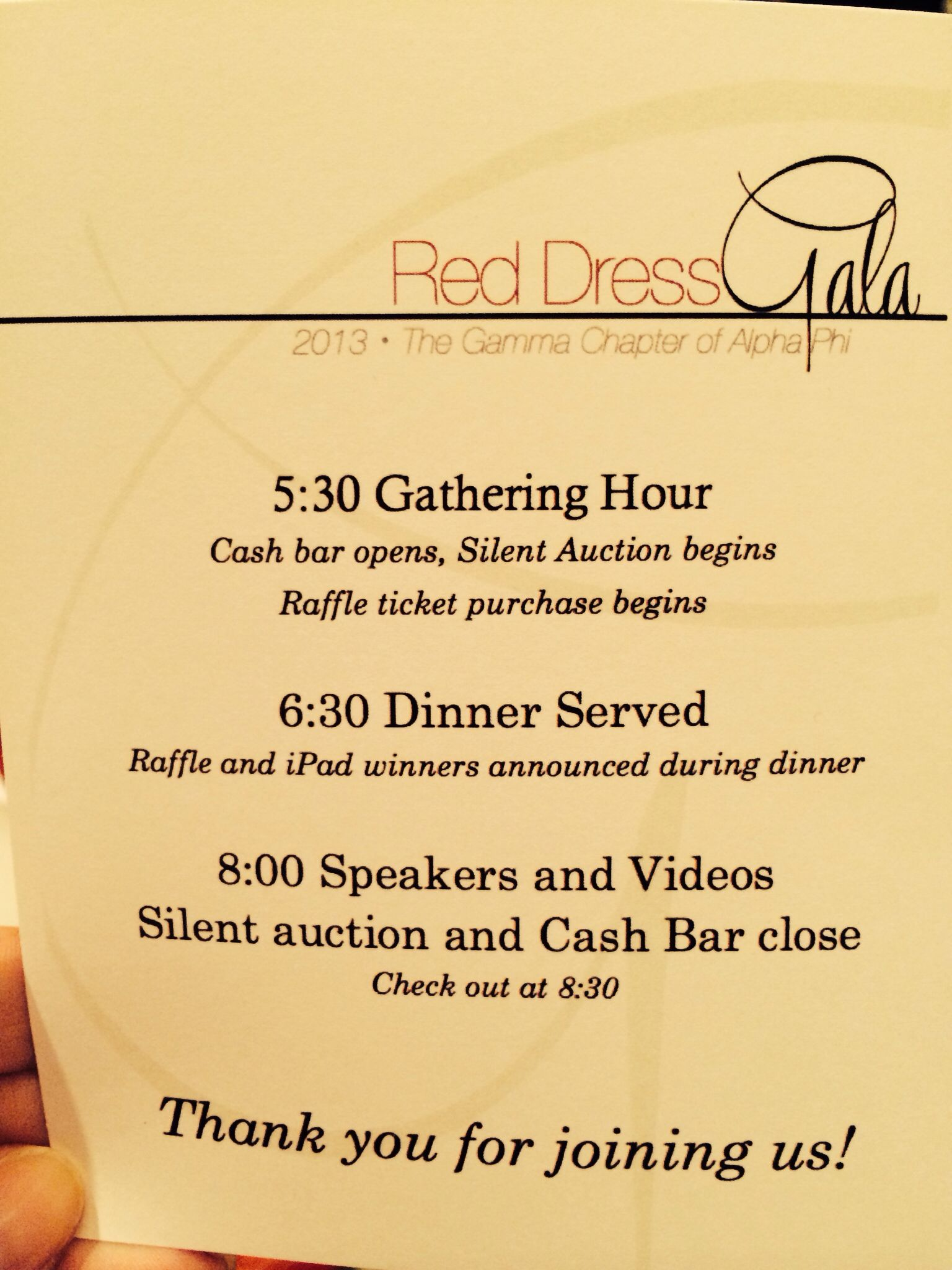Program Used At GammaDepauwS Red Dress Gala In Oct   Red