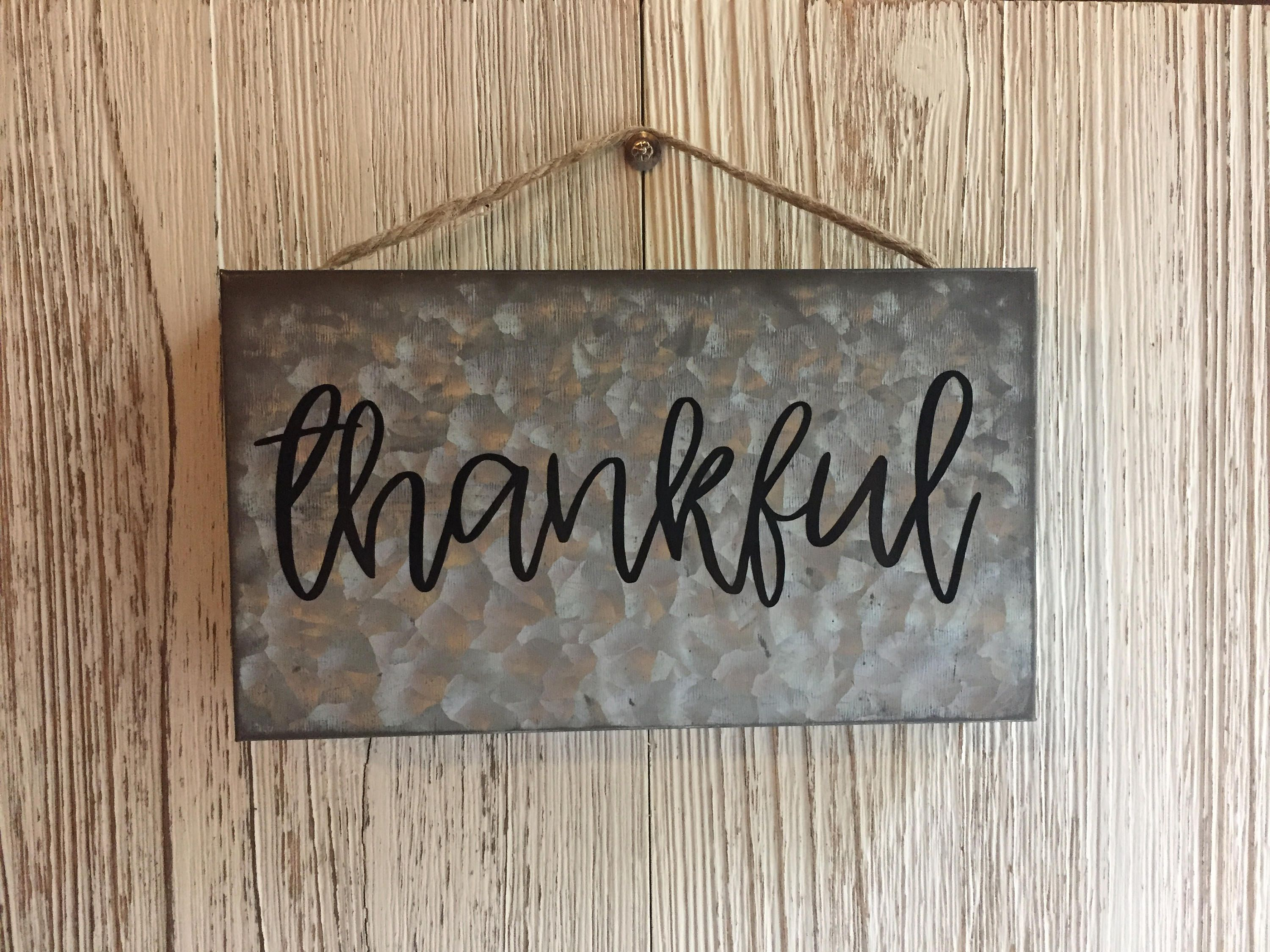 Galvanized Metal Thankful Hanging Wall Sign Metal Wall Sign