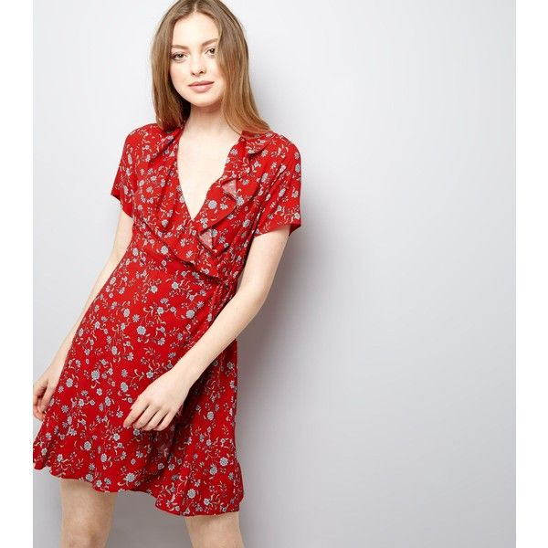 dea85aa0c4aa New Look Red Floral Frill Trim Wrap Front Mini Dress (£25) ❤ liked on  Polyvore featuring dresses, red pattern, red mini dress, short dresses,  flower ...