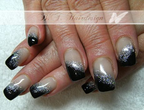 nageldesign schwarz wei glitzer fabulous nails. Black Bedroom Furniture Sets. Home Design Ideas