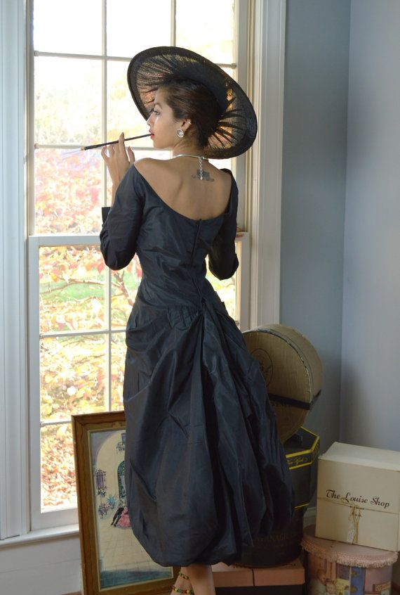 Draped Couture Vintage 50s ROSALIE MACRINI by labellevintage