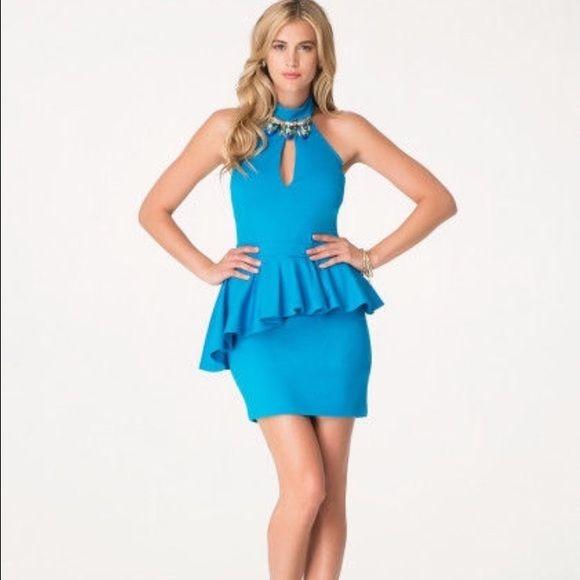 Bebe Turquoise Peplum Dress NWT | Blue, Peplum and Bebe