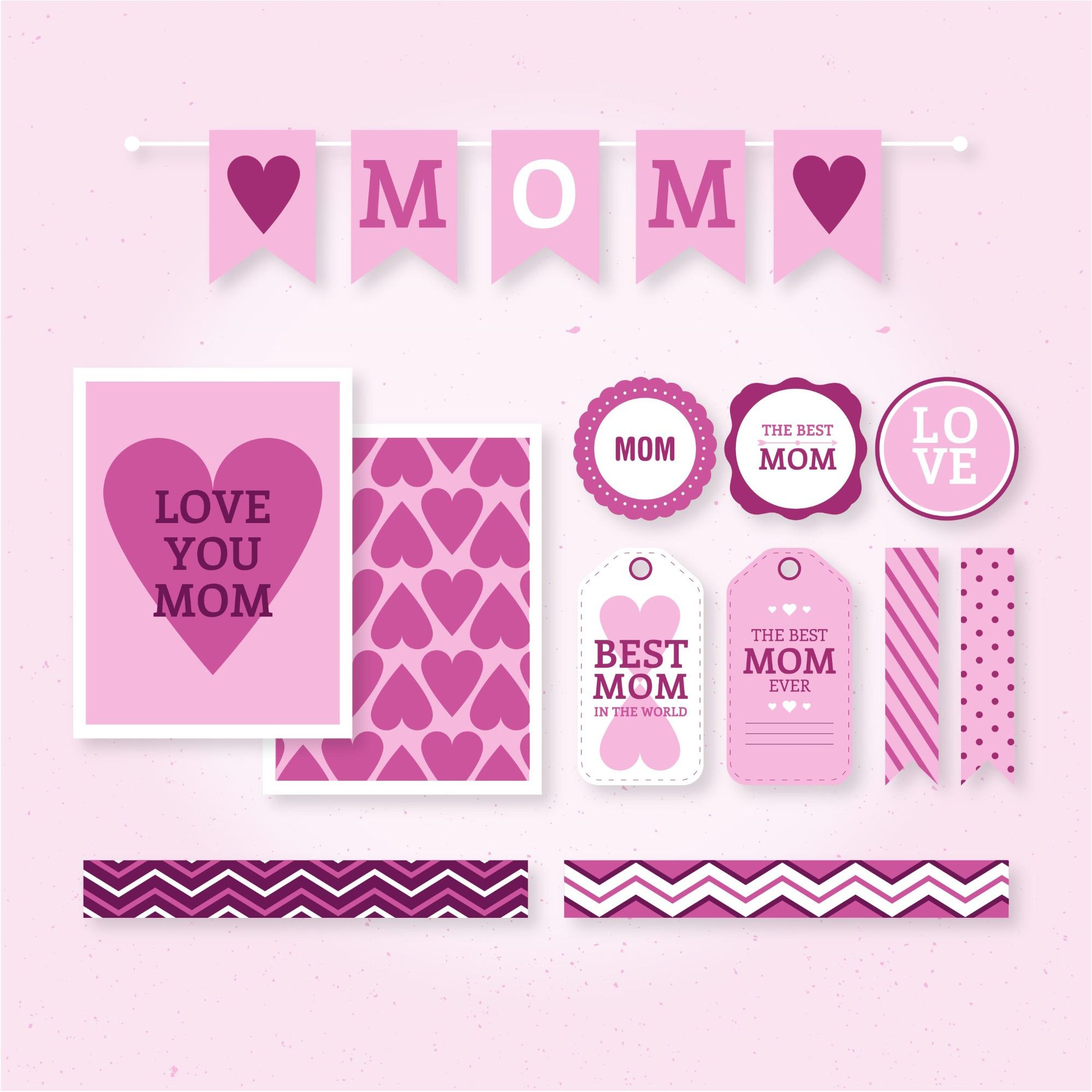 Vector bunting flags lovely celebration card with colorful paper - Are You Looking For Mother Day Greeting Card Vector Background We Have Combined 604 Mother S Day Vector Party Background For Crafts And Decorations