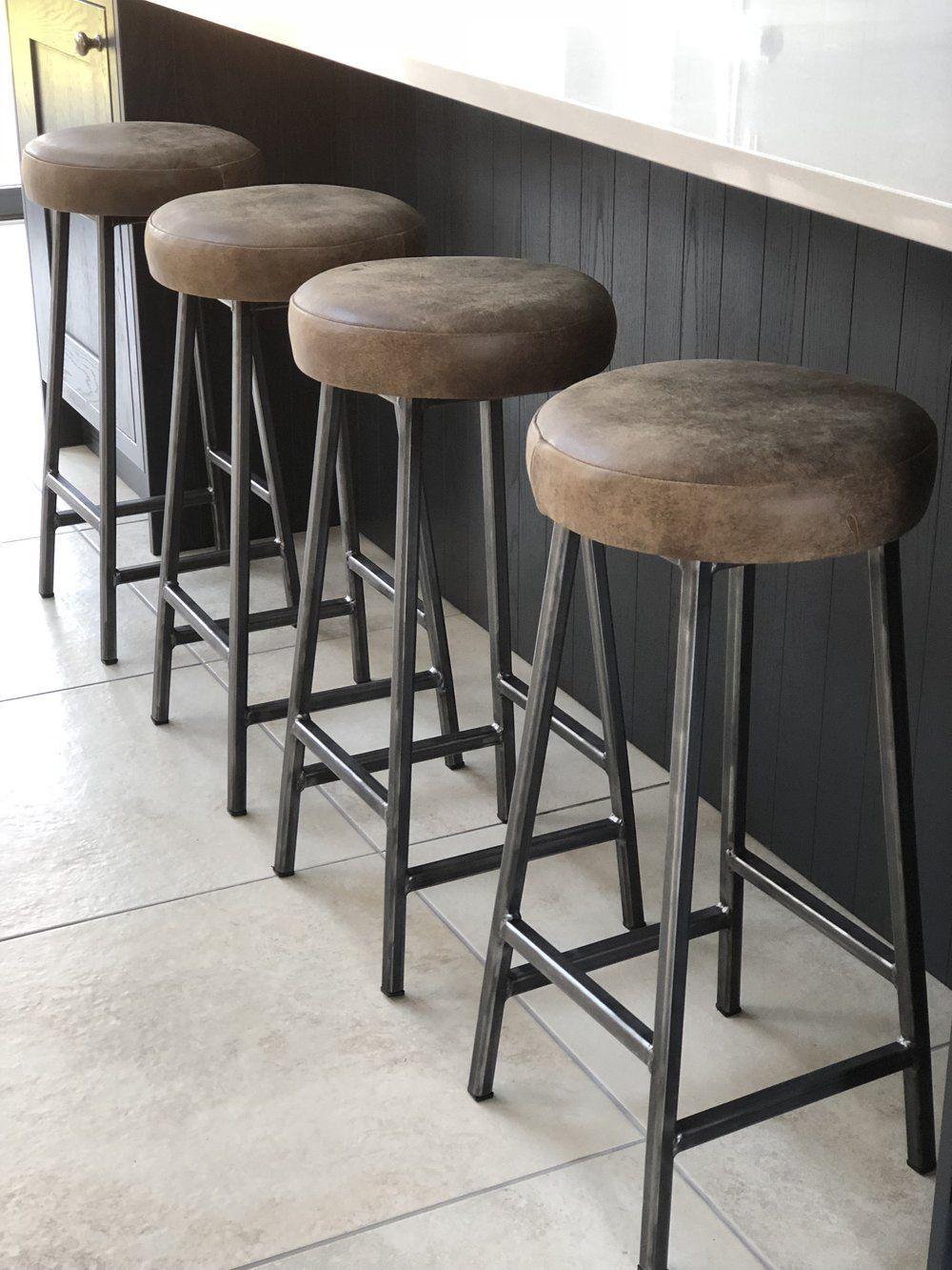Admirable Bertie Hyde Steel Frame Industrial Bar Stool With Thick Creativecarmelina Interior Chair Design Creativecarmelinacom