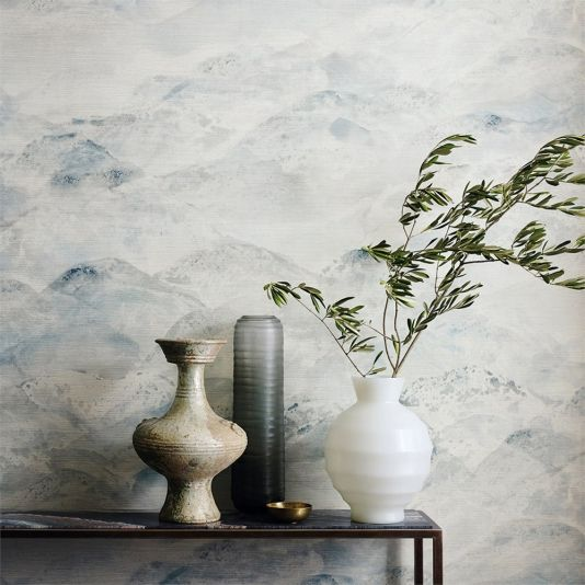 Sansui Wallpaper A Spectacular Wallpaper With A Skyscape Printed In Watery Shades Of Blue On A Grass Cl Zoffany Wallpaper Wall Coverings Grasscloth Wallpaper