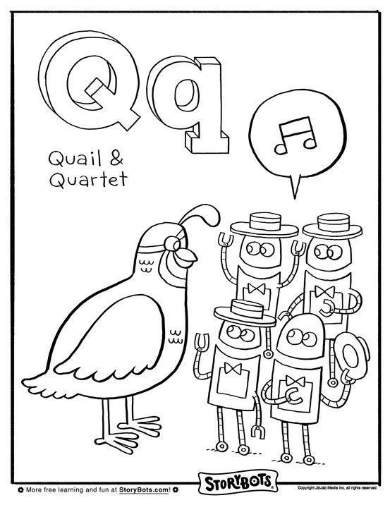 This quail and quartet of StoryBots need coloring, quick ...