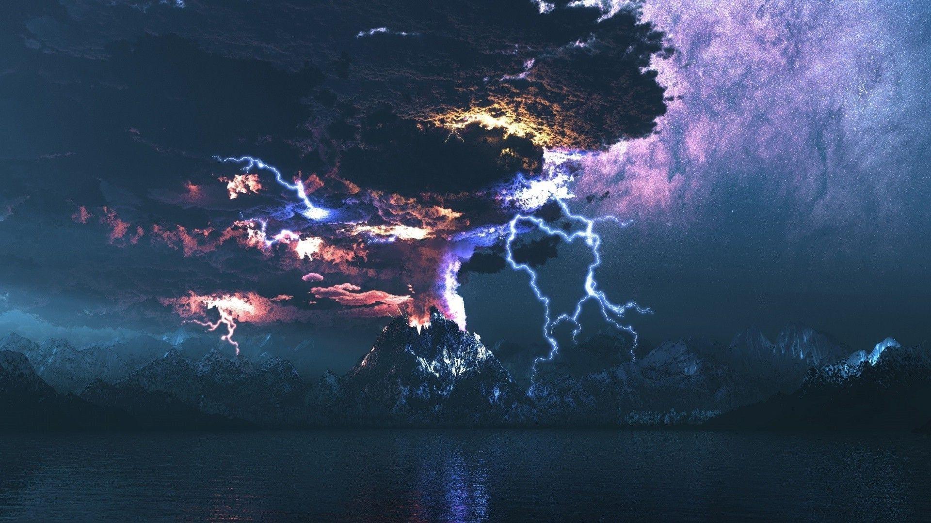 lightningoverthevolcanoeruptionnaturehdwallpaper