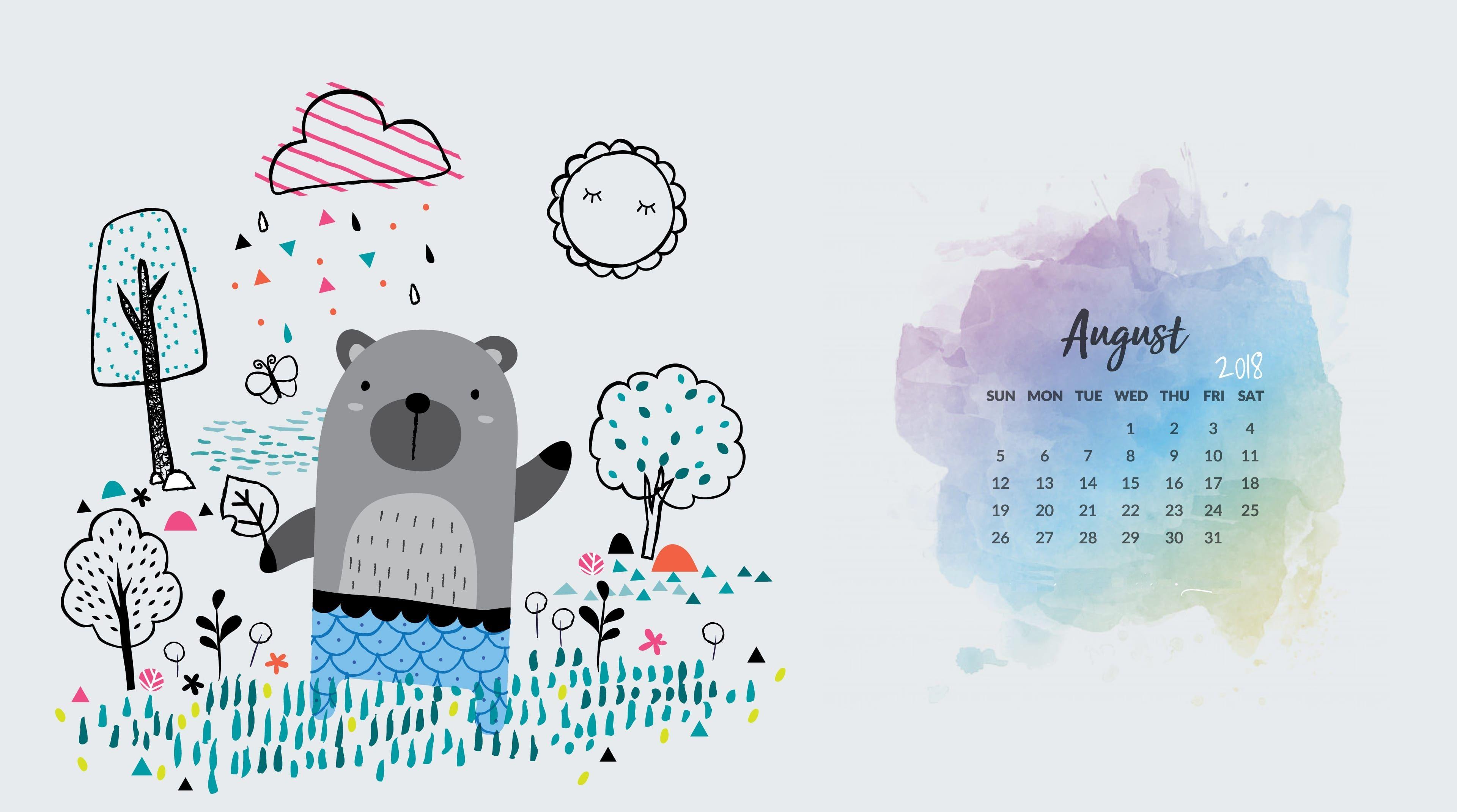 August 2019 Desktop Calendar Wallpaper Cute Monthly