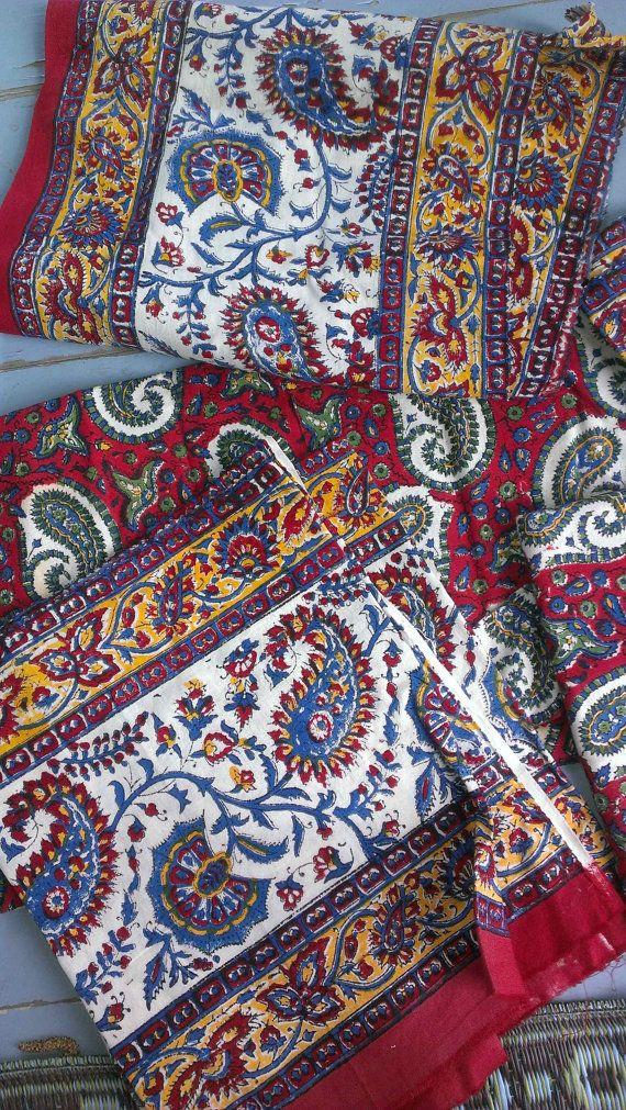 Vintage Indian Fabric Batik Paisley Red Blue Yellow Green