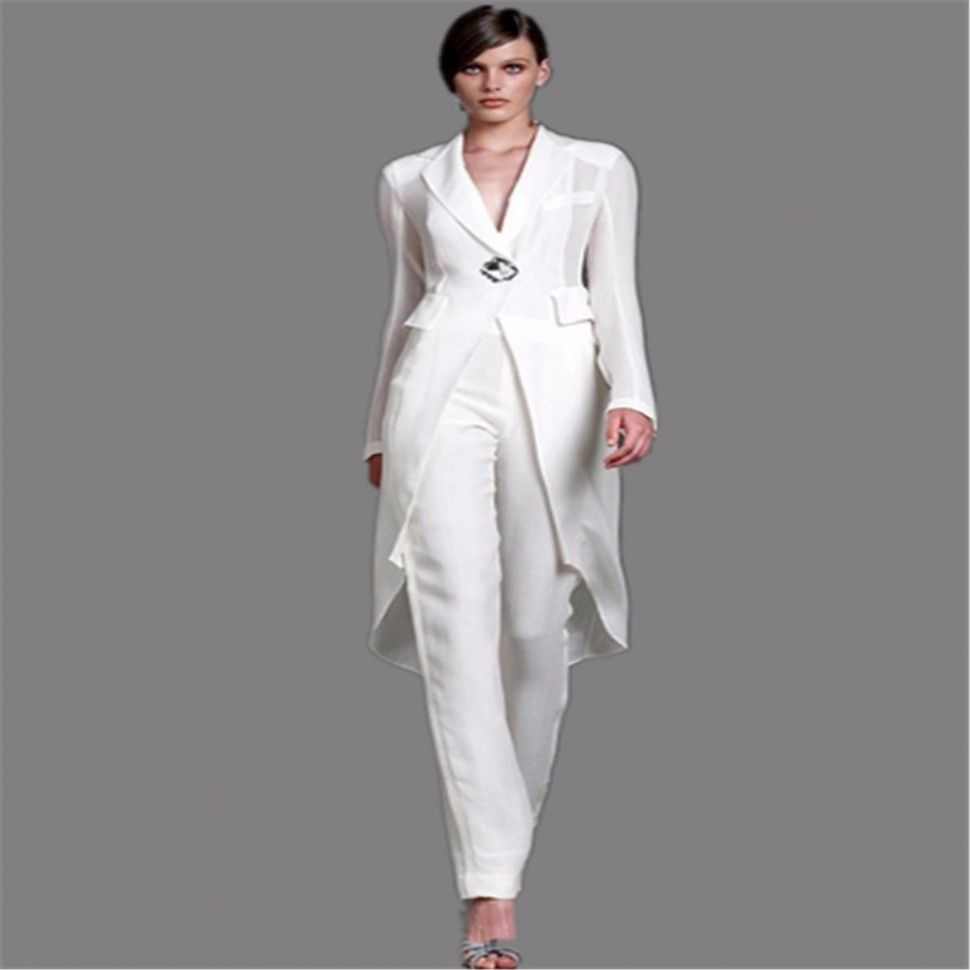 aliexpress com buy 2016 plus size mother of the bride pant suits with jacket  white crystal 71dc19f24959