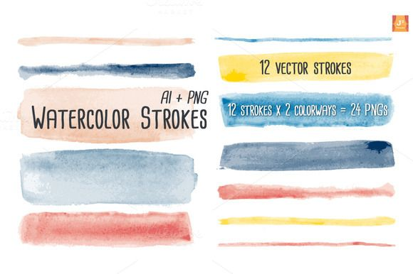Check Out Watercolor Vector Brush Strokes By Jsquarepresents On