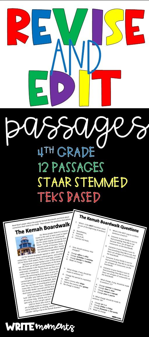 Distance Learning- Revise and Edit Passages | Staar ...