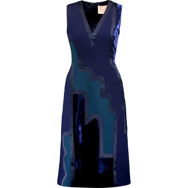 Roksanda Herzog velvet and satin-paneled twill midi dress ($780) ❤ liked on