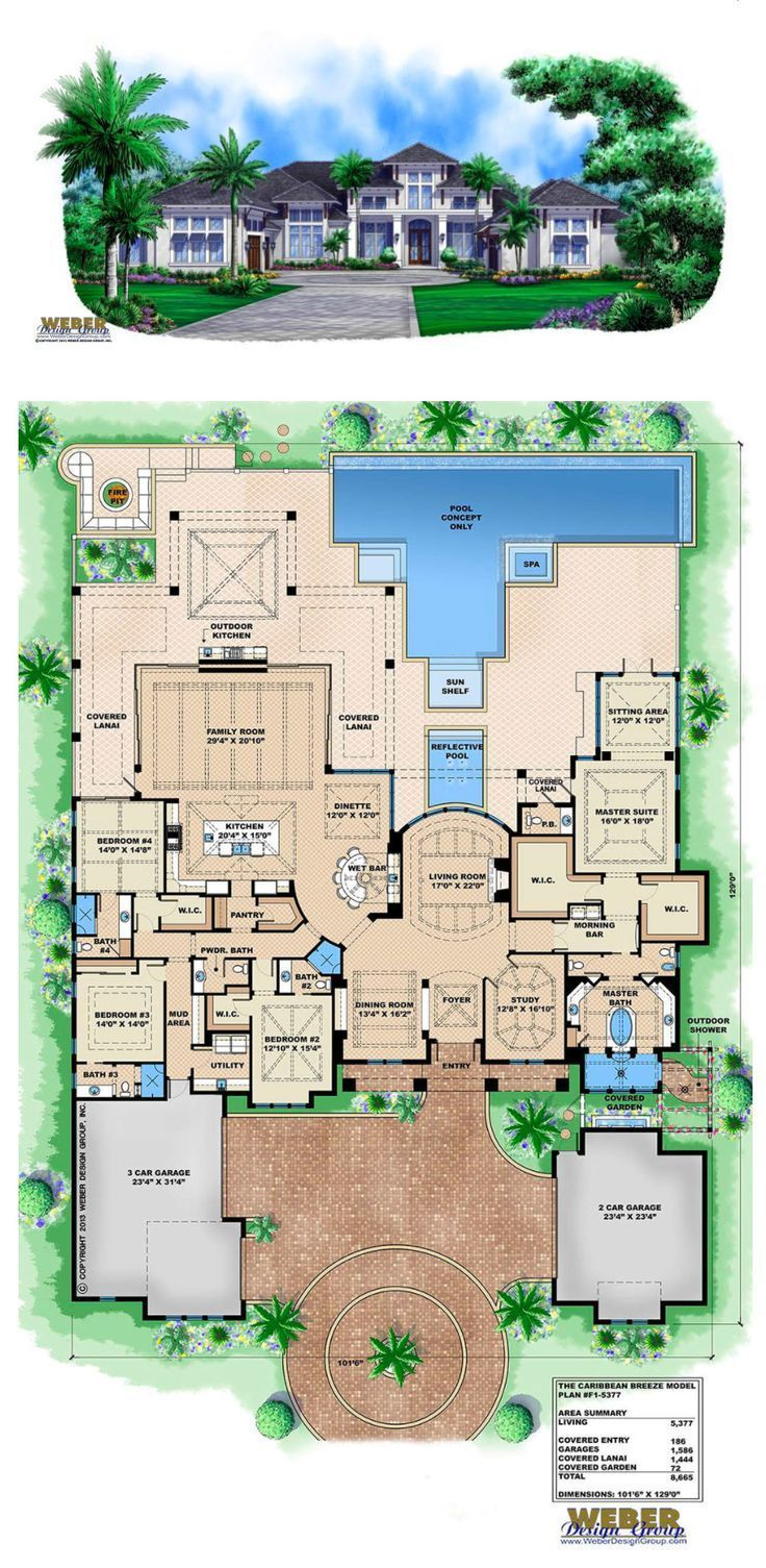 home Plans Mediterranean Caribbean House Plan 1 Story