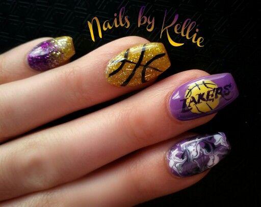 La Lakers Nails Nails Kawaii Nails Cute Nails