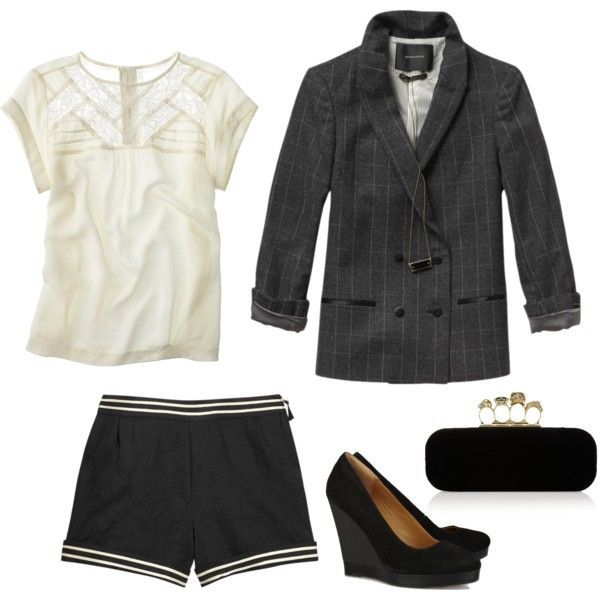 shorts + tailored jacket, tkow on Polyvore