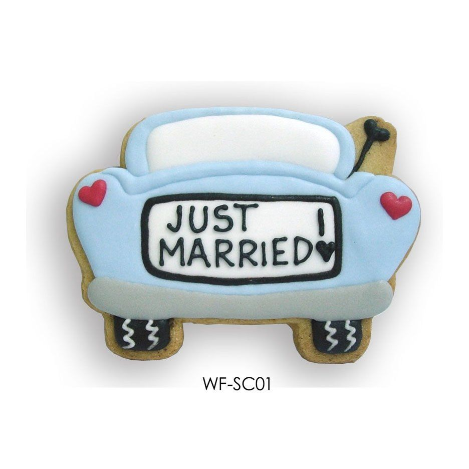 Wedding car decorations just married  Bridal Cookiewedding Cookies Favors CuteHanddecorated And