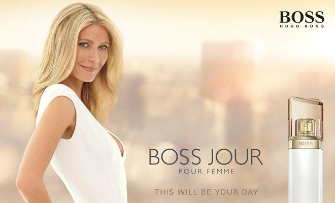 Gwyneth Paltrow, ya fue imagen de Hugo Boss con su anterior perfume: Boss Nuit pour Femme, en esta ocasión la actriz cambia de escenario de la espectacular noche a la fresca mañana como el nuevo perfume femenino de Hugo Boss, Boss Jour pour Femme