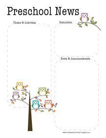 The Crafty Teacher Preschool Owl Newsletter Template  Preschool