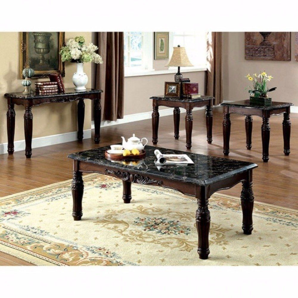 Faux Marble Top Coffee End Tables Set Espresso Brown Pack Of 3