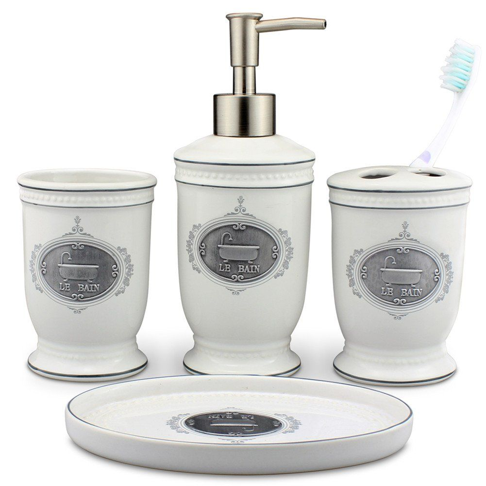 Singoracer Matt White Ceramic Bath Accessory Set Soap Dispenser