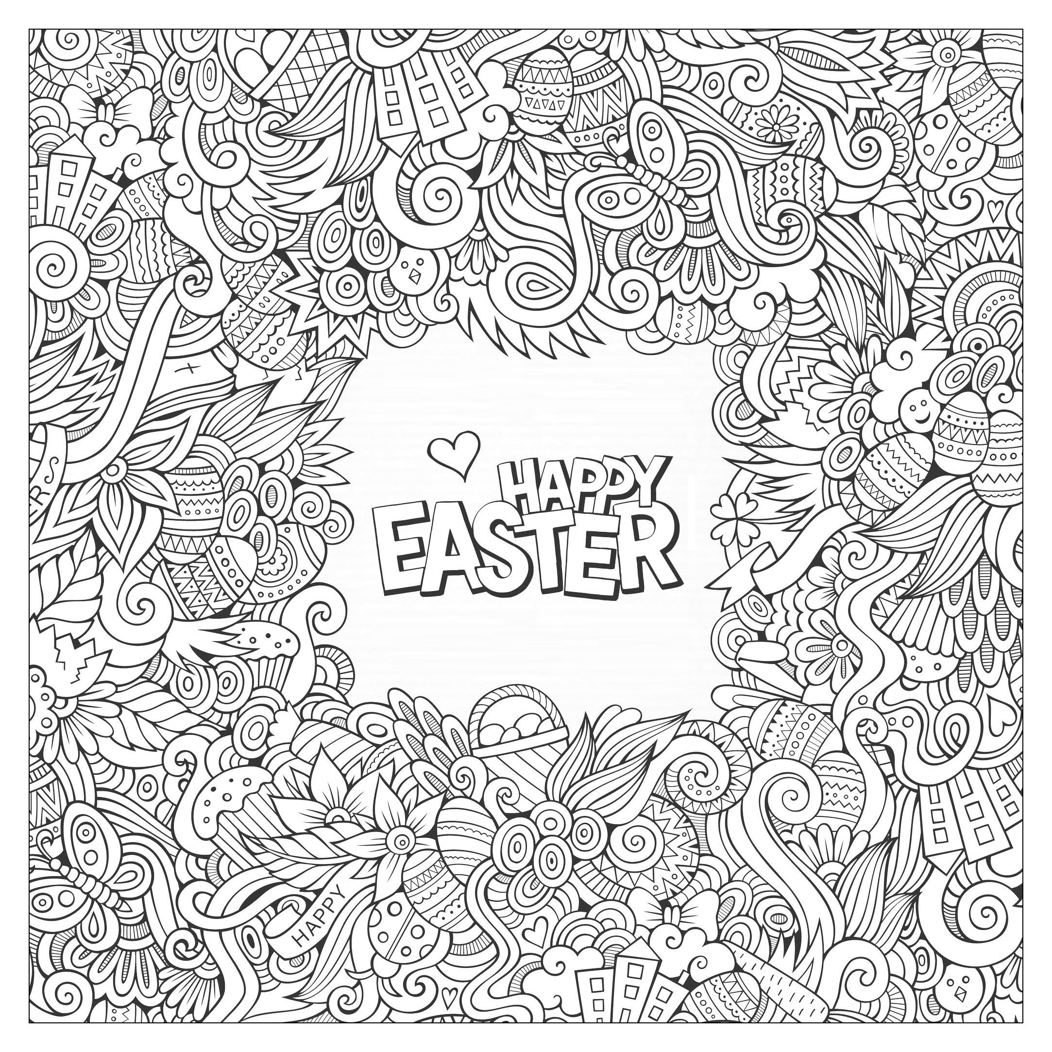 Easter Greeting Card To Print And Color For Kids And Adultsfrom