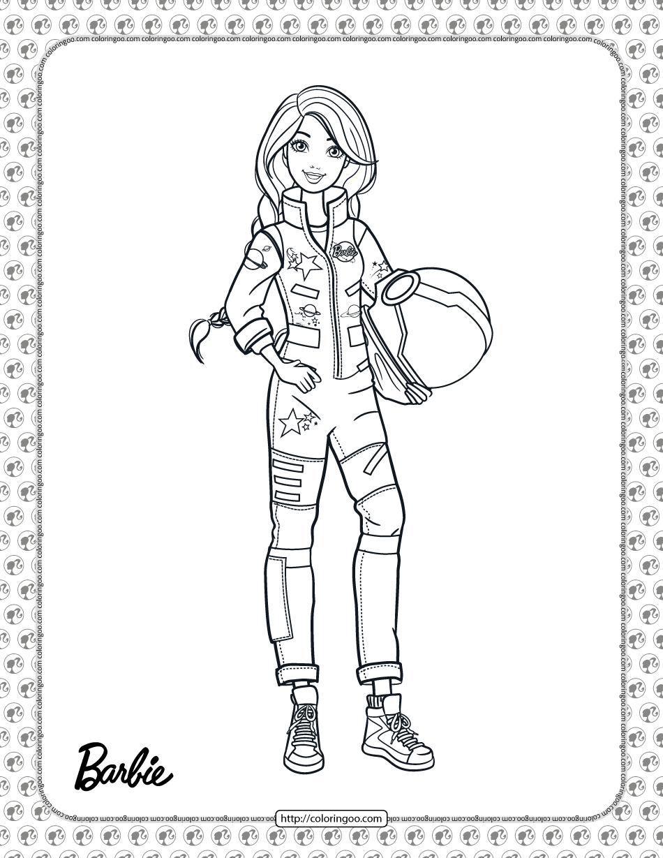 Astronaut Barbie Coloring Page In 2021 Barbie Coloring Pages Barbie Coloring Coloring Pages