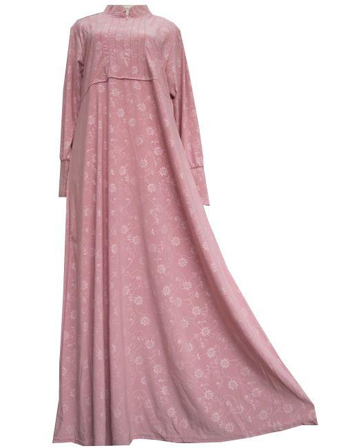 Baju Gamis Resleting Motif Bunga Titik Umb4111 Model Terbaru Baju