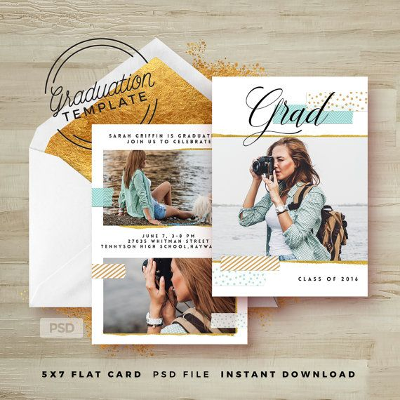 Mint \ Gold Graduation Invitation Template by FearlessConfetti - graduation invitation template