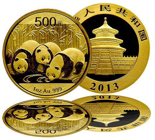 2013 China Panda Gold Coins - 1 oz. The Gold Panda Coins are here with a unique design for 2013. Since they were first minted in 1982, the Chinese Panda Coins have been created for the demanding coin collector as a tribute to China's endangered Giant Panda Bears. The brand new 2013 design features three Pandas drinking from a watering hole surrounded by a field of bamboo. The combination of intricate detailing and the annual design changes make the China Panda Gold Coins unique.