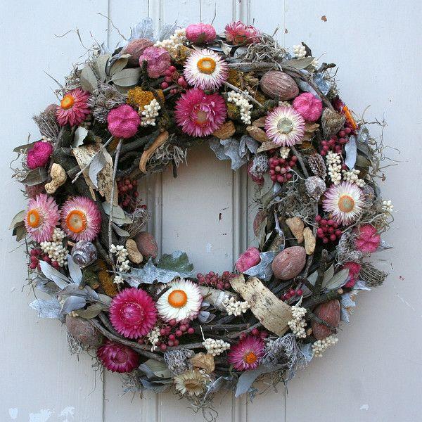 Photo of Door wreaths – door wreath wreath of straw flowers tone on tone pink 38 cm – a designer …