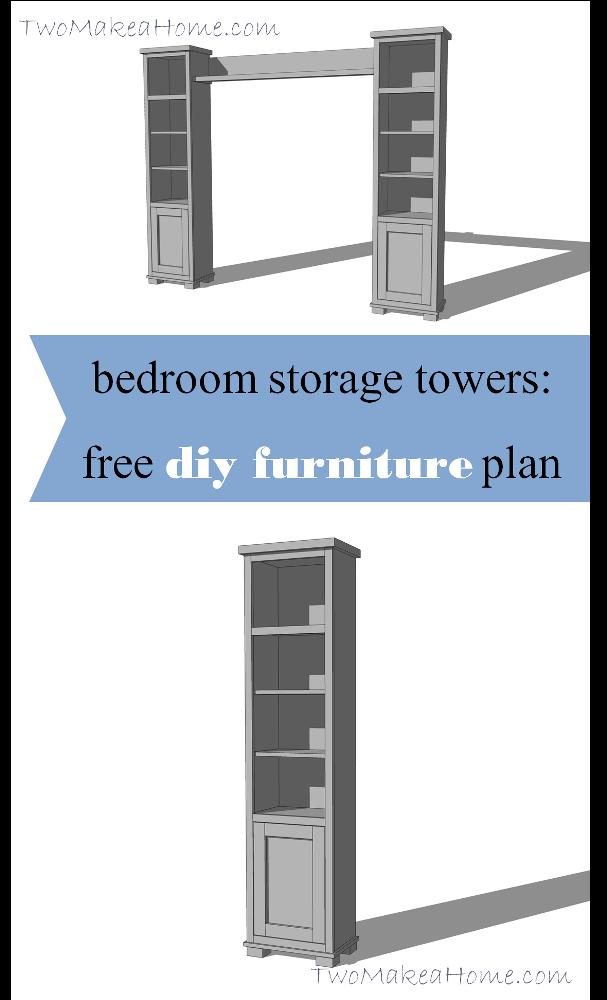 Schlafzimmer Lagertürme | DIY Möbel Plan | Zwei machen ein Zuhause