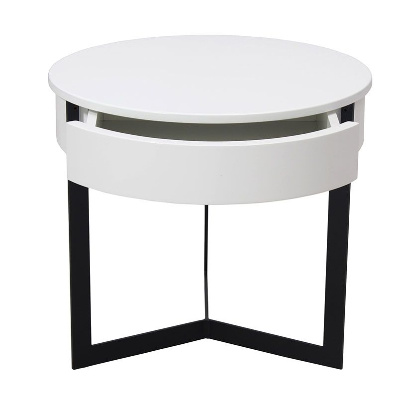 Have you been looking for a way to add some really cool geometric contrast to your home? Look no further. The White Croy End Table is the answer to your geometrically driven contemporary design needs. This creative circular surface coupled with a...