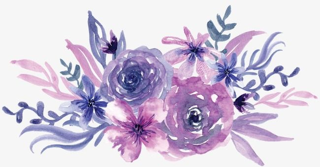 Watercolor Purple Flowers Flower Art Watercolor Flowers Purple